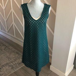 Zara Woman Emerald Green Eyelet Sheath Dress